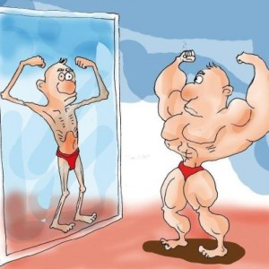 muscle man in mirror